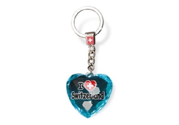 """SLA Kristal Herz """"I love Switzerland"""", blau, 4 x 4 cm"""