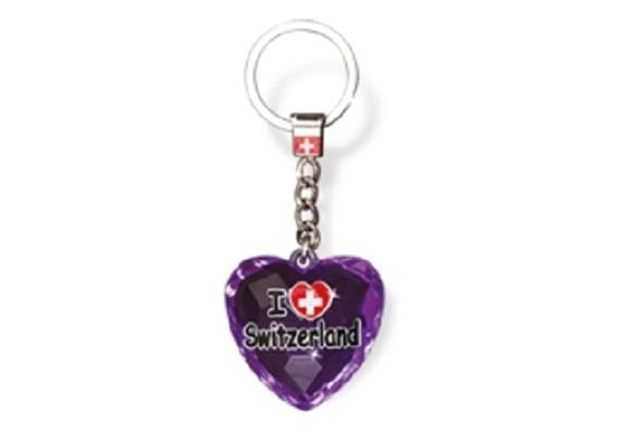 """SLA Kristal Herz """"I love Switzerland"""", lila, 4 x 4 cm"""