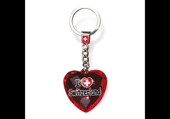 """SLA Kristal Herz """"I love Switzerland"""", rot, 4 x 4 cm"""