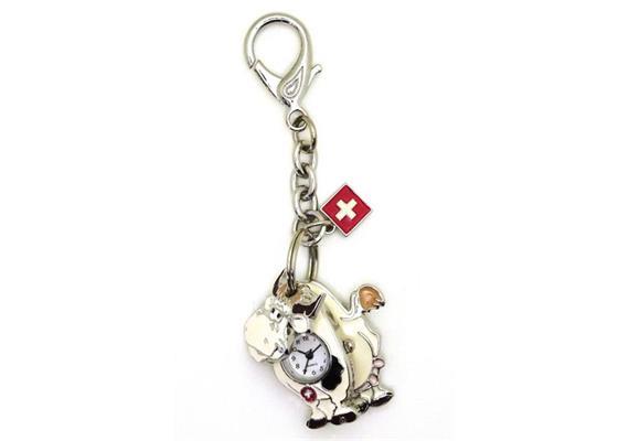 SLA Kuh beweglich, funktionierende Uhr, CH Kreuz