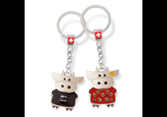SLA Kuh Paar, rot / schwarz mit CH-Kreuz, 4 x 3.2 cm