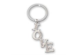 """SLA """"Love"""" mit transparenten Strass, silber, 6 x 1.8 cm"""