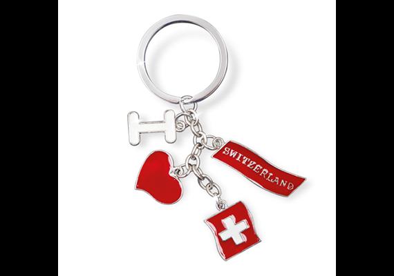 """SLA """"Switzerland"""", mit 4 Sujets an Kette, silber, 5.5 x 1.5 cm"""