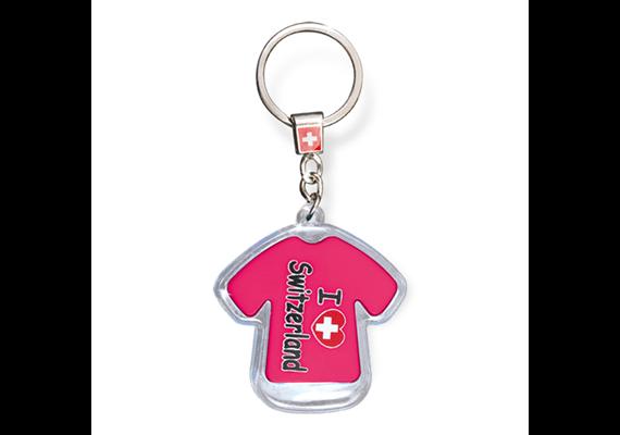 "SLA T-Shirt ""I love Switzerland"" mit LED, rosa, 5.5 x 5 cm"