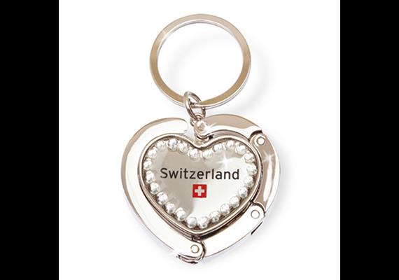 SLA Taschenhänger Schweiz mit Strass, Metall silber, 4.5 x 5 cm