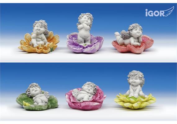 "Solange Vorrart Poly-Engel ""Igor"" auf Blume stony-grey sort. ø9 H6-8.5cm"