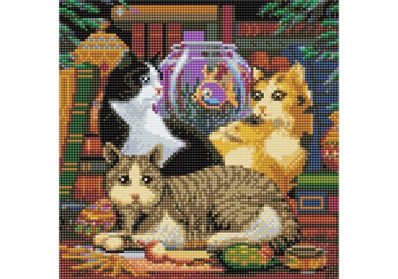 Solange Vorrat! Cat Fishing, 30x30cm Crystal Art Kit