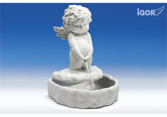 Solange Vorrat! Poly-Brunnen ''Igor'' weiss 25x22 H33cm