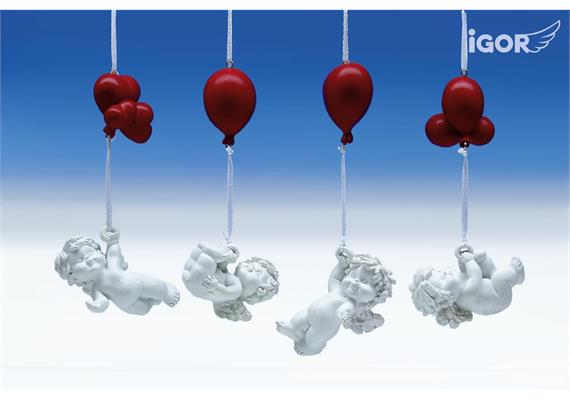 Solange Vorrat! Poly-Engel ''Igor'' mit Luftballon weiss-rot hgd. sort. H6-8 L15-17cm