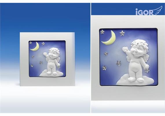 """Solange Vorrat!Poly/Holz-Bild """"Igor"""" unter Sternen weiss-coloriert sort. 15.5x15.5cm"""
