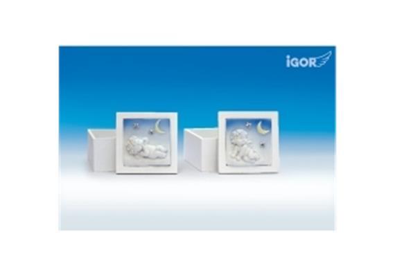 "Solange Vorrat! Poly/Holz-Box ""Igor"" unter Sternen weiss-coloriert sort. 9x9 H7cm"