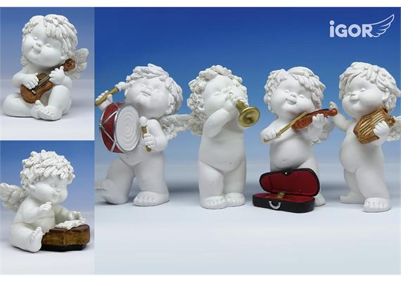 Solange Vorrat! Poly-Musikengel ''Igor'' sth./stz. weiss-coloriert sort. H12,5-17cm