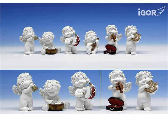 Solange Vorrat Poly-Musikengel ''Igor'' sth./stz. weiss-coloriert sort. H5,5-7cm