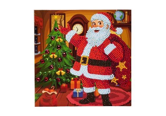 Solange Vorrat! Santa's Here!, 18x18cm Crystal Art Card