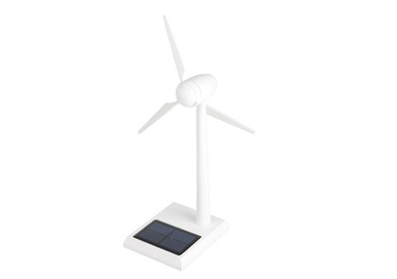 Solar Windgenerator Holz weiß, 30 cm