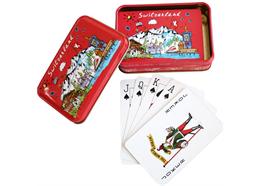 Spielkartenbox Metall mit CH Motiv mit Kartenspiel und 2 Joker
