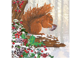 Squirrel, 18x18cm Crystal Art Card