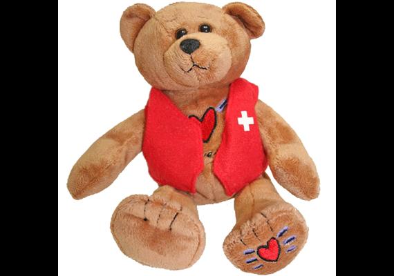 """Stoffbär braun """"Switzerland mit Herz"""", 23 cm (Preis ist ohne rote Veste)"""