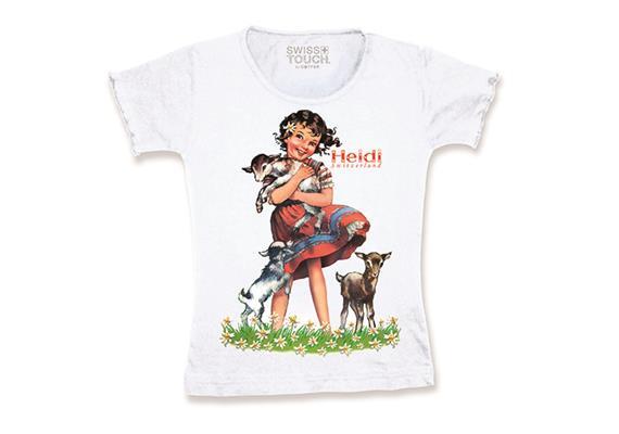 T-Shirt Tailliert weiss Heidi mit Ziege, Grösse 116