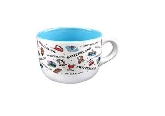 Tasse CL 2 Frühstückstassen gross, Innen je 1x blau und lila, ca. 5 dl, Ø 12 x 8.6 cm.