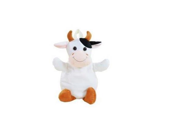 Tierrucksack, Kuh, schwarz und weiß, mit Tragegriff, 33 cm