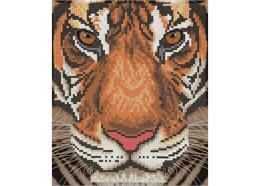 Tiger Gesicht, 21x25cm Bild mit Rahmen Crystal Art