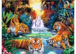 Tigers at the Jungle Pool, 40x50cm Crystal Art Kit