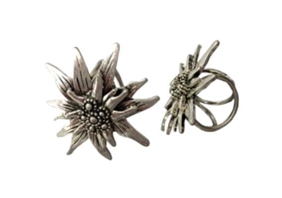Tuchhalter Foulardclip Edelweiss silber, Metall, 3 Ringe