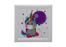 Unicorn Balloon, 16x16cm Frameable Crystal Art