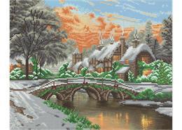 Verschneites Dorf mit Brücke, Bild 40x50cm LED Crystal Art Kit THOMAS KINKADE