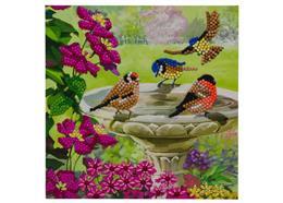 Vögel am Brunnen, Karte 18x18cm Crystal Art