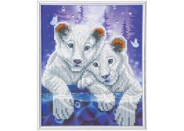 Weisse Tiger Jungen, 21x25cm Bild mit Rahmen Crystal Art