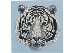 White Tiger Head, 18x18cm Crystal Art Card