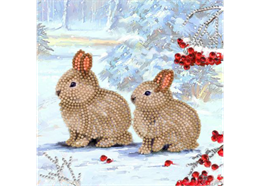 Winter Bunnies, 18x18cm Crystal Art Card