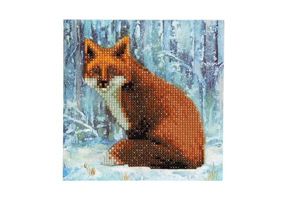Winter Fox, 18x18cm Crystal Art Card