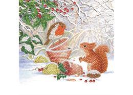Winter Freunde, Karte 18x18cm Crystal Art