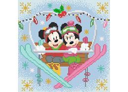 Winter Mickey und Minnie beim Skifahren, Bild 30x30cm Crystal Art Kit