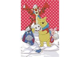 Winter Winnie the Pooh, 10x15cm Crystal Art Card