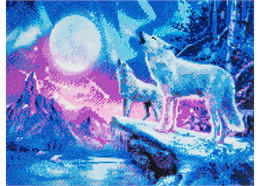 Wolves & Northern Lights, 40x50cm Crystal Art Kit