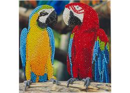 Amis des perroquets, carte 18x18cm Crystal Art