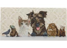 Animal Family, 11x22cm Crystal Art Card