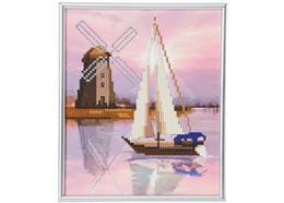 Bateau et moulin à vent, image 21x25cm avec cadre Crystal Art