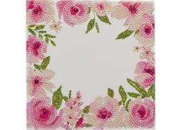 Bordure florale, carte 18x18cm Crystal Art