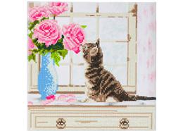 Chat avec des fleurs, 30x30cm Crystal Art Kit