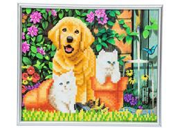 Chat et chien: amis pour la vie, image 21x25cm avec cadre Crystal Art