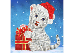 Christmas White Tiger, 18x18cm Crystal Art Card