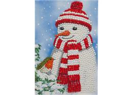 Cosy Snowman, 10x15cm Crystal Art Card