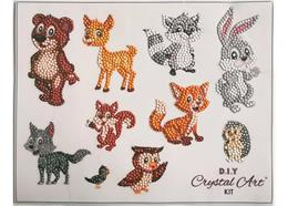 De sympathiques animaux de la forêt, Autocollants-Set 21x27cm Crystal Art Motif