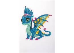 Dragon amical, autocollant 9x9cm Crystal Art Motif
