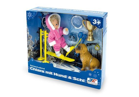 École de ski enfant Chiara avec ski et chien
